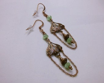 Antique Copper Art Nouveau And Sea Green Glass Beads Chandelier Earrings
