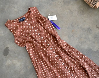 NWT Polka dot dress, size 12 brown and white button down