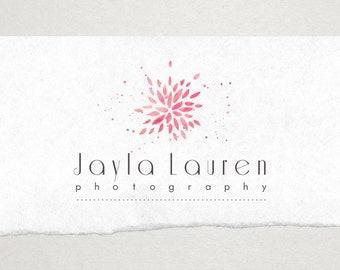 Premade Logo // Logo Design // Business Logo //  Photography Logo // Watercolor Logo // Flower Splatter Logo