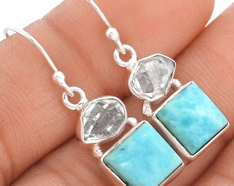 Larimar. Solid Sterling Silver. Herkimer Diamond Accents.