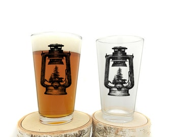 Old Lantern Pint Glasses -Set of two 16oz. Pint Glasses - Screen Printed Pint Glasses