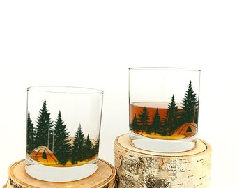 Kitchen Glasses - Camping in the Woods - Screen Printed Rock Glasses