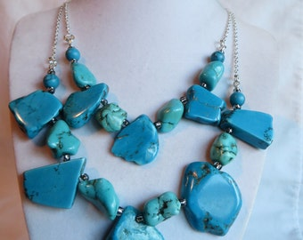 """18 1/2"""" Double Turquoise Necklace"""