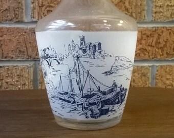 Vintage Made in France Blue Frosted Vase Glassware