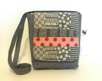 Quilted Cotton Cross Body Bag in Grey Prints Quilted Handbag