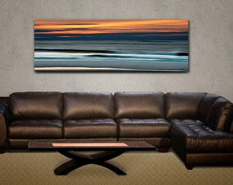 Abstract Ocean Vivid Metal Print, Large Hanging Wall Art, Above the Sofa hanging Art, 20x60 inches