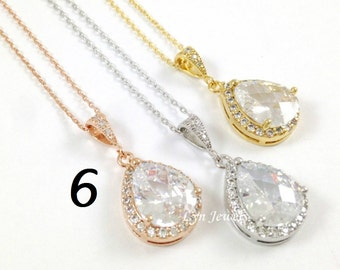 10% OFF Set of 6 Cubic Zirconia Bridesmaids Necklace - Silver, Yellow Gold, Rose Gold Jewelry Gift