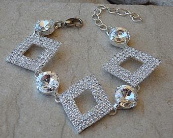 Diamond Swarovski Bracelet, Clear Stones Bracelet, Wedding White Bracelet, Rhombus Bracelet, Geometric Statement Bracelet, Silver Bracelet