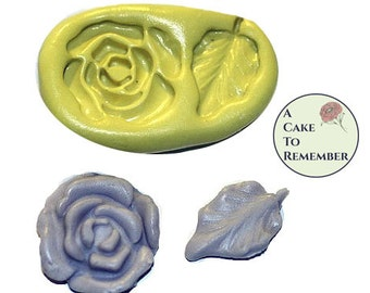 Silicone flower and leaf mold for cake decorating or polymer clay, resin, jewelry, candy, chocolate. M041
