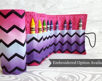 Chevron Pink Crayon Roll, Personalized Gift, Crayon Holder, Crayon Wallet, Gifts Under 20, Unique Travel Gift, Birthday Gift, Party Favors