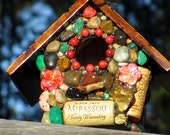 Wren Birdhouse mosaic garden colorful birdhouse mothers day unique gift nature lover rustic folk art stone birdhouse wine cork art