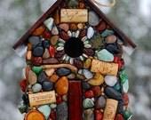 Large Outdoor Birdhouse Mosaic Stone for Wine Lovers Rustic birdhouse Oregon handmade