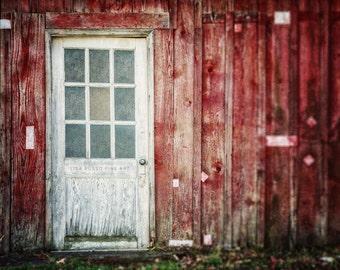 Rustic Red Decor, Red Barn Print or Canvas Wrap, Rustic Red Barn, White Barn Door, Red Decor, Barn Decor, Country Decor, Farmhouse Decor.