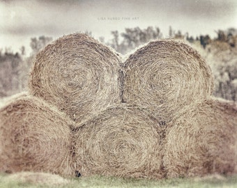 Farmhouse Decor, Rustic Country Decor, Country Decor, Hay Bales, Hay Rolls, Beige, Tan, Rustic Farm Photograph, Hay Picture or Canvas Wrap.
