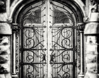 Black and White Print or Canvas Wrap, Ornate Door Photography, Pittsburgh Pennsylvania Photography, Dark Iron, Vintage Door Picture, Rustic.