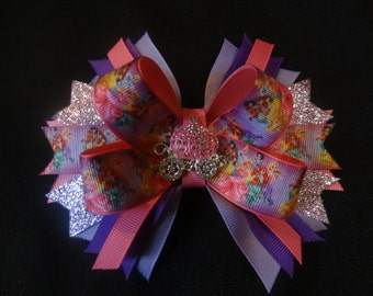 Disney princess and palace pets inspired hairbow, large 5 inch boutique bow