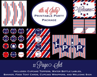 4th of July Printable Party Package