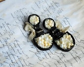 Statement, fabric textile, mixed media, hand embroidered, romantic, large earrings - Pearls and ...pearls