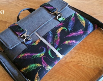 """NeW-11"""",13"""",14"""",15"""",17""""-Laptop bag-Macbook,MS SurfacePro, LenovoYoga,Sumsung chromebook, Acer, Hp, ASUS, strap-FEATHER on Heather Gray"""