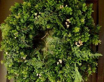 Boxwood Wreath . Fall Wreath , Wreath  , Wreath For The Door , Outdoor Wreath , Year Round Wreath , Indoor Wreath