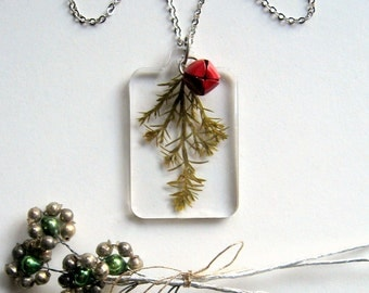 Ellwood Cypress and Red Bell - Real Winter Greenery Necklace - botanic jewelry, cypress, Winter necklace, jingle bell, holiday, eco, ooak
