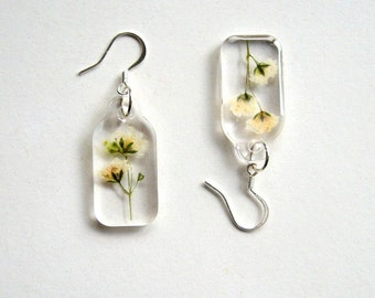 Gypsophila - Charmed Real Flower Earrings - botanic jewelry, pressed flowers, flower earrings, cream, Nature inspired, Spring earrings, ooak