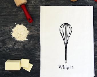 Whip It - Screen Printed Cotton Flour Sack Kitchen Tea Towel