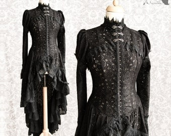 Black Victorian Steampunk cardigan, robe, black lace, Somnia Romantica, approx size medium, see item details for measurements