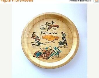 ON SALE Vintage Souvenir Plate - Bamboo Plate - Jamaica Souvenir Plate - Tiki Bar