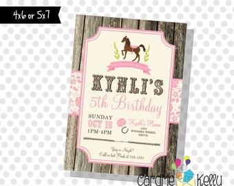 Printable Horseback Horse Rider Farm Stable Cowgirl Birthday Party Invitation - Printable Digital File