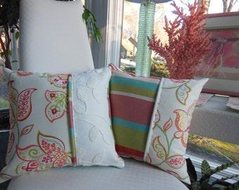 Coral Pillow - Flower Pillow - Ivory Pillow - Stripe Pillow - Reversible Pillow - Paisley Pillow - Turquiose Pillow - Green Pillow - Texture