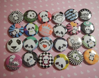 24 Panda Bear Cutie Inspired Pinback Button Party Favors Brooches