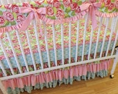 SALE--VALENTINES SALE---- Bumperless Crib Bedding- Baby Bedding- Made to Order-Shabby Chic