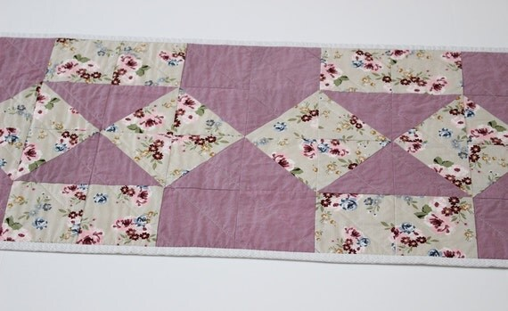 Lavender Quilted Table Runner, Pale Purple Table Topper