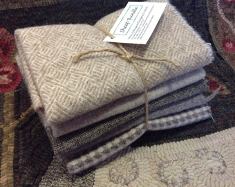 Sheep Bundle, Wool for Rug Hooking and Applique, 5) Fat Eighths, W122,  Cream, tan, taupe, gray
