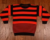 vintage red black stripe sweater youth large XL adult crop sweater small XS petite 80s 90s vintage boys jumper