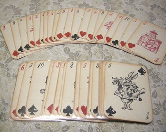 Alice in Wonderland Playing Cards - Full Size 52 Card Deck WITHOUT sleeves - red queen, white rabbit, mad hatter, custom deck