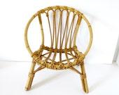 Vintage Mid century Mod Rattan Chair Round Hoop Chair Wicker Child era Rohé