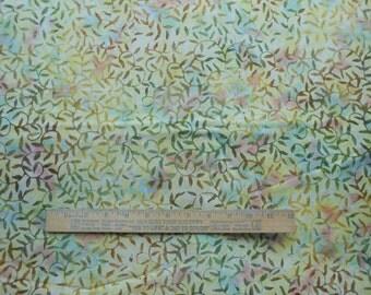 Marbled Peach Yellow Green Lavender Leaf Vine 1 Yard Central Java Batik Quilting Cotton Fabric