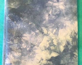 Quilting Fabric - Ice Dyed - Hand Dyed Cotton Fabric - Art Quilt Fabric - 1 Yard in Blue and Ecru - Sewing Fabric - Home Dec Material