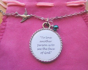 To Love Another Is to See The Face Of God Les Miserables Victor Hugo Quote In A Pendant Necklace