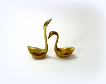 Pair of Swans- Brass Accents- Brass Groupings- Casual Home Decor