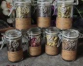 Flip-Top Herbs Jars, Sacred Herbs, Wiccan Herb Jars, Herbal Witchcraft, Hoodoo Herbs, Witch's Cupboard Jars, Sealed Herb Jars