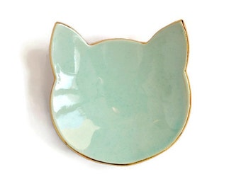 Meow cat ring dish - gold rim detail - black or mint ceramic jewelry dish plate - wedding ring bearer holder