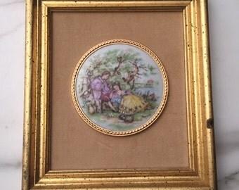 Vintage FRAGONARD Miniature Painting Porcelain Medallion Limoges Lovers Framed