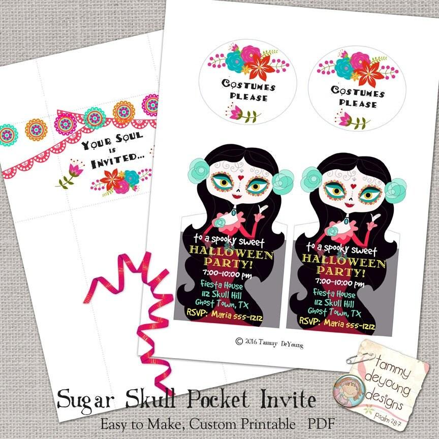 Sugar Skull Party Invitation, Halloween Party Invitation Printable ...