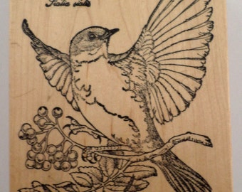 Blue Bird Psx Sitting On A Berry Branch K-1312 Wooden Rubber Stamp
