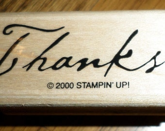 Stampin Up Thanks 2000 Wooden Rubber Stamp