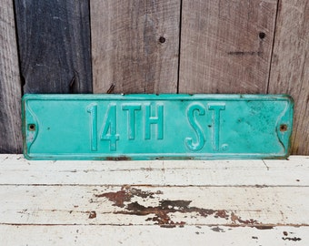 Vintage Metal 14th Street Sign Embossed Road Sign Single Sided Industrial Garage Man Cave Decoration Number 14 Green