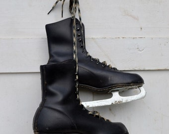 Vintage Ice Skates Men's Black Sears Original Box Tags Plaid Laces Christmas Winter Decoration Crafts Upcycle 1960's